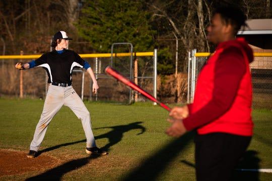 Jonathan Waters of the Carolina High School baseball team during practice, Friday, February 21, 2020.