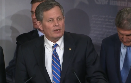 Sen. Steve Daines, R-Mont., speaks Wednesday at a news conference regarding the Land and Water Conservation Fund.