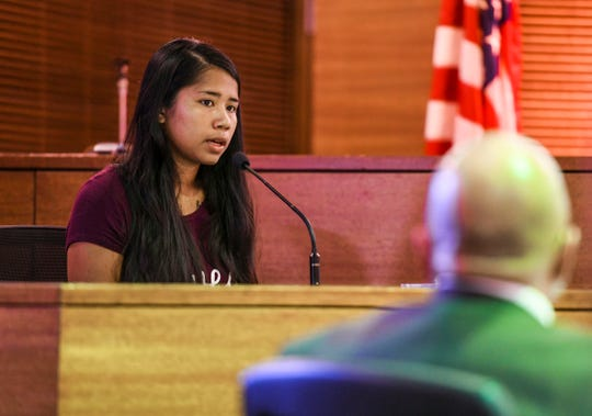 Dezree Palacios, sister of homicide victim Timicca Nauta, answers a question posed by prosecutor Lenny Rapadas, during the murder trial of suspect, Brandon Acosta, at the Superior Court of Guam on Wednesday, March 4, 2020. Timicca Nauta, 15, was found lifeless in her makeshift dwelling by family members where she resided with them at a compound in Dededo, back in June 2018.
