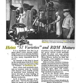A magazine advertisement from about 1920 for Robbins & Myers electric motors, which depicts the interior of the Heinz ketchup plant in Henderson, as well as plant manager Nathaniel J. Simpson and three women employees.