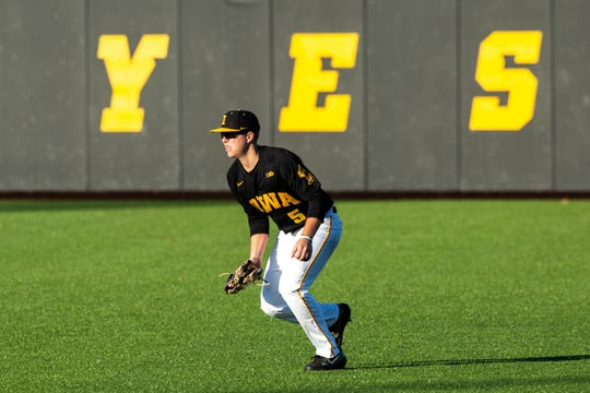 Iowa's Zeb Adreon (5) fields a ball during a NCAA non conference baseball game, Tuesday, March 3, 2020, at Duane Banks Field in Iowa City, Iowa.