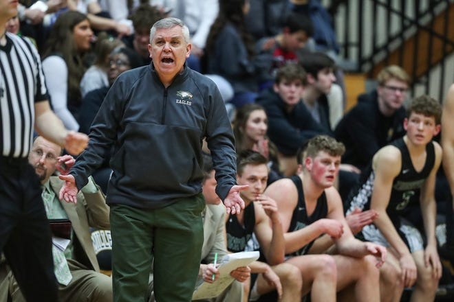 Zionsville Eagles head coach Shaun Busick  during the third quarter of sectionals at Noblesville High School on Tuesday, March. 3, 2020. Zionsville won, 23-21.