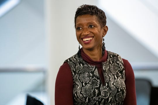 Katrice Hardy is announced as executive editor of the Indianapolis Star during a newsroom meeting on Wednesday, March 4, 2020.