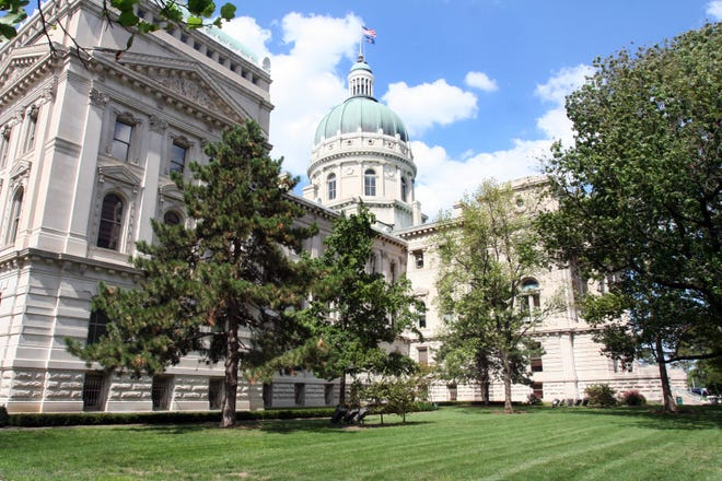 Exterior of the Indiana Statehouse looking from the south lawn. Exterior