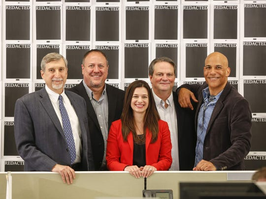 "The IndyStar USA Gymnastics coverage team (from left, editor Steve Berta, reporters Mark Alesia, Marisa Kwiatkowski, Tim Evans, and visual journalist Robert Scheer) is featured in documentary film ""Athlete A."""