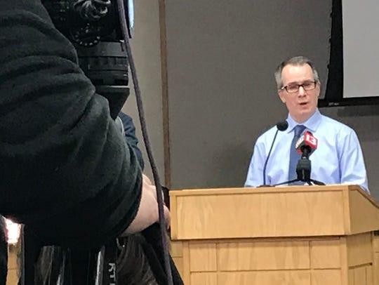 Dr. Jeremy Adler,  Tippecanoe County's health officer, discusses the Tippecanoe County Health Department's approach to COVID-19, a coronavirus, on Wednesday, March 4, 2020, at the Tippecanoe County Office Building in downtown Lafayette.