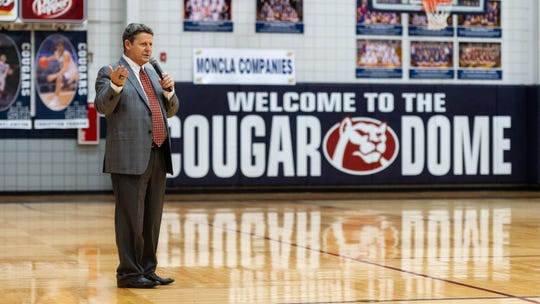 Cougars head coach Danny Broussard as the STM Cougars take on Vanderbilt basketball.  Tuesday, March 3, 2020.
