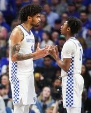 Kentucky's Nick Richards and Ashton Hagans seemed to exchange frustration as the Wildcats blew a 17-point second half lead to lose to Tennessee 81-73. March 3, 2020