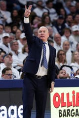 Mar 3, 2020; University Park, Pennsylvania, USA; Penn State Nittany Lions head coach Patrick Chambers signals from the bench during the second half against the Michigan State Spartans at Bryce Jordan Center. Michigan State defeated Penn State 79-71. Mandatory Credit: Matthew OHaren-USA TODAY Sports