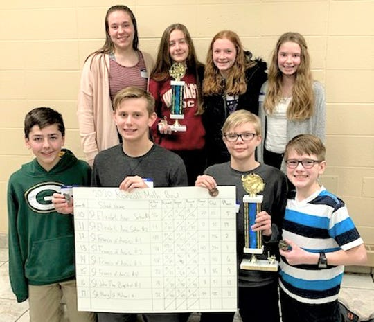 First- and second-place teams from the 50th annual grade school Math Bowl at Manitowoc's Roncalli High School March 2. Pictured in row one, from left, is St. Francis of Assisi, Manitowoc, first place: Matthew Isselmann, Martin Dewane, Carter Norell and Matthew Ehmke Zimmer. Pictured in row two, from left, is St. Francis of Assisi, Manitowoc, second place: Katelyn Callahan, Jenna Wall, Laurin Hamann and Lindsey Culligan.