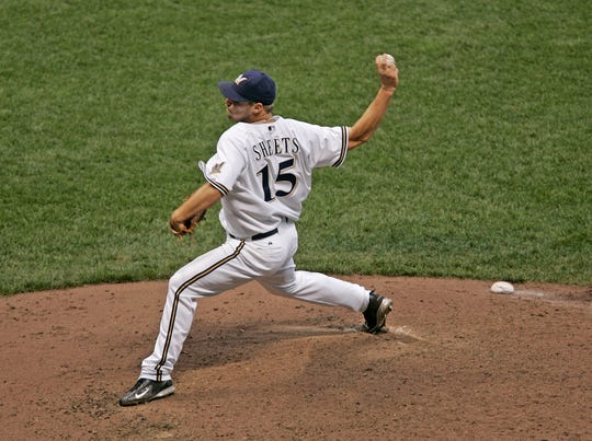 Brewer starter Ben Sheets fires a pitch in their game at Miller Park, Saturday, July 30, 2005.