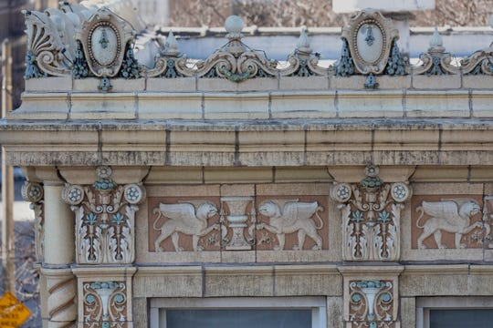 Decorative cornices grace a building that formerly housed The Watts Tea Shop in the 750 of block N. Jefferson Street.