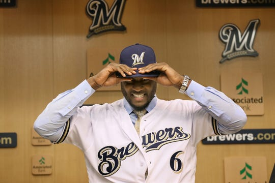 The Brewers held a press conference to announce they have signed Lorenzo Cain to a five-year contract on Jan. 26, 2018.