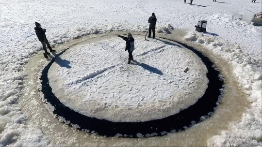 Afterglow Lake Resort in Phelps, Wisconsin, created a spinning ice carousel on their lake at the end of February 2020.