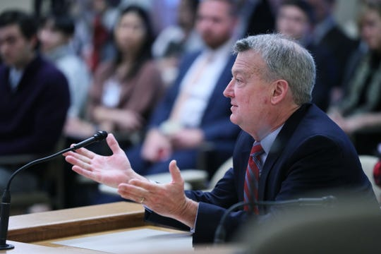 Rep. Joel Kitchens, R-Sturgeon Bay, asks leaders of the state Department of Health Services how they are working to prevent coronavirus outbreaks at large gatherings like an upcoming conference about tourism. The health department leaders were at the Capitol on Wednesday, March 4, 2020, to brief lawmakers on preparations for an outbreak.