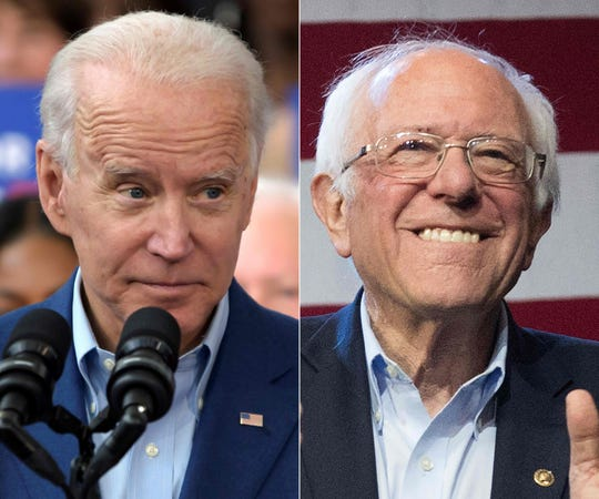 Democratic presidential candidates Joe Biden, left, and Bernie Sanders, right.