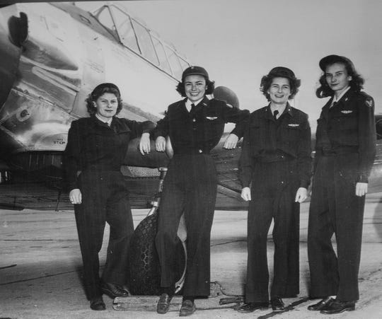WASP Ethel (Jones) Sheffler, left, is shown in this circa World War II photo with other pilots at the Experimental Aircraft Association Aviation Museum in Oshkosh. It will be part of a temporary exhibit honoring the Women Airforce Service Pilots (WASP). It opens to the public March 10.