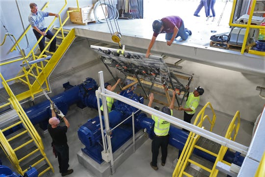 Staff from the Waukesha Water Utility worked with City of Milwaukee to install test apparatus in the Grange Pumping Station of the Milwaukee Water Utility in September 2018. Waukesha is getting a new water supply to combat increased radium in its groundwater.