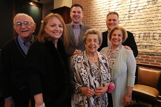 Carmela Scarnato during her 100th birthday celebration with family at Roots Steakhouse in Morristown on March 4, 2020. Robert Cataldo, Linda Cataldo, David Marine, Dennis Marine and Jennifer Marine.