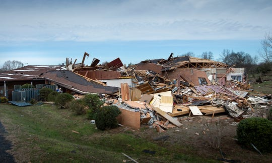 The sanctuary of St. John's Lutheran Church was demolished after tornado ripped through the city early Tues. morning. photographed Wednesday, March 4, 2020 in Nashville, Tenn.