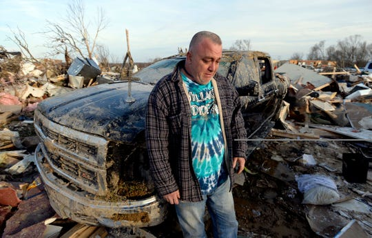 Charles Williams cries after a tornado destroyed his home on Tuesday, March 3, 2020, in Cookeville, Tenn.