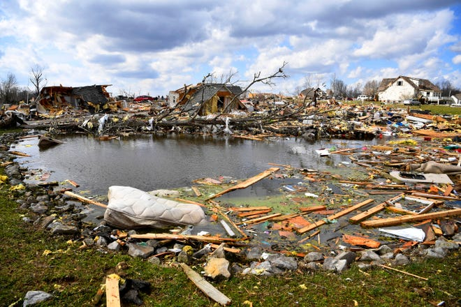 What remains after a tornado touched down in Putnam County,  Tenn. Tuesday, March 3, 2020.