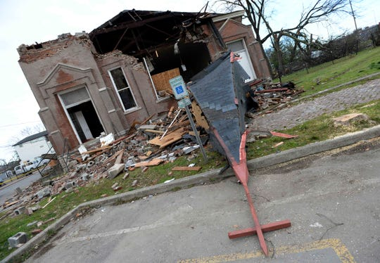 Tornado damage to the Hopewell Baptist Chruch on Monroe Street on Wednesday, March 4, 2020, in North Nashville, Tenn.