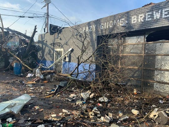 Crazy Gnome Brewery was damaged in the Middle Tennessee tornado.