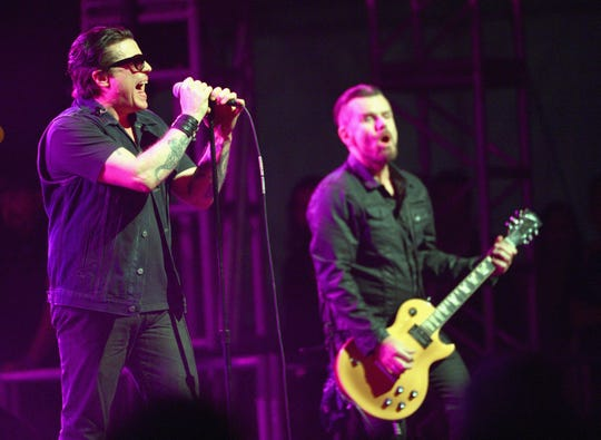 Ian Astbury and Billy Duffy of The Cult perform during the 2014 Coachella Valley Music & Arts Festival at the Empire Polo Club in Indio, Calif. Getty Images for Coachella INDIO, CA - APRIL 11: Singer Ian Astbury and musician Billy Duffy of The Cult perform onstage during day 1 of the 2014 Coachella Valley Music & Arts Festival at the Empire Polo Club on April 11, 2014 in Indio, California.  (Photo by Jason Kempin/Getty Images for Coachella)