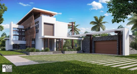 WDG Architecture | Planning + Interiors rendering of its Florida Case Study Home depict the sustainable attributes of the residence, located on the Gulf Coast of Naples.