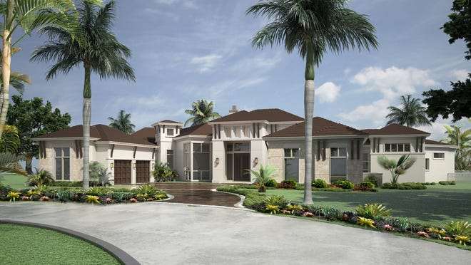 The Newport model, by Stock Custom Homes, offers a golf course and lake view.