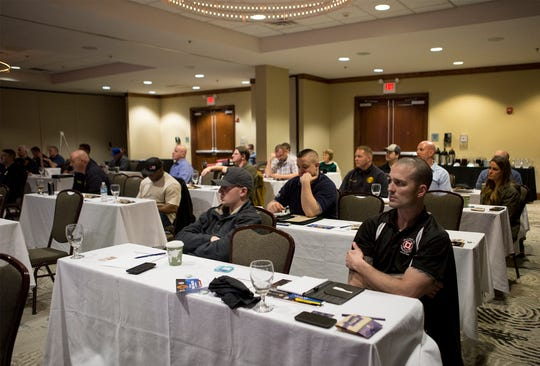 Firefighters attend a Mental Health Conference at the Double Tree. The two day conference coved a variety of topics including compassion fatigue.