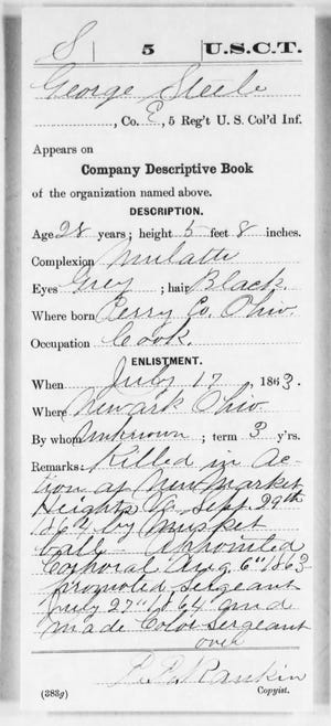 George Steele was a Union soldier whose name appears in N.N. Hill Jr's History of Licking County Ohio 1881, with an incomplete list of those who died in the war.