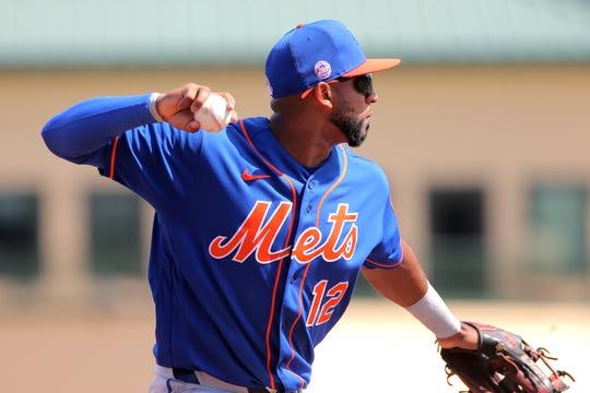 Mar 1, 2020; Jupiter, Florida, USA; New York Mets third baseman Eduardo Nunez retires Miami Marlins catcher Francisco Cervelli (not pictured) in the second inning at Roger Dean Chevrolet Stadium.