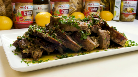 Stuffed lamb with mint chimichurri is perfect for the spring season.