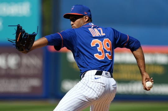 Mar 1, 2020; Port St. Lucie, Florida, USA; New York Mets pitcher Edwin Diaz (39) throws against the Washington Nationals in the fourth inning at Clover Park.