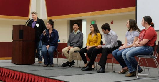 Students give their perspective on education in New Mexico during Ngage New Mexico's Success Summit on Monday, March 2, at Corbett Center on the New Mexico State University campus.