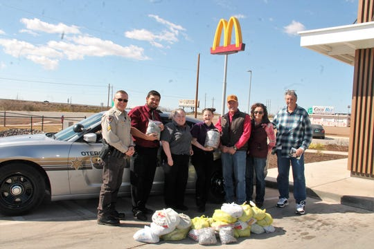 The Otero County Sheriff's Office donated 80 pounds of can tabs to the Ronald McDonald House in Albuquerque. The tabs were dropped off March 4 at the Alamogordo north side McDonald's  Pictured from left are OCSO Cpl. Theo Livingston, McDonald's Manager Joshua Herrera, McDonald's Branch Manager Rhonda Haynes, McDonald's Manager Emily Baker, Otero County Sheriff David Black, Vickie Pickering and Roy Pickering.