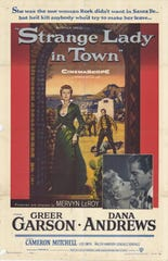 Strange Lady in Town poster lists Greer Garson and Dana Andrews as the stars.