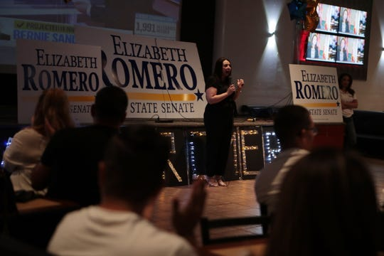 State Senate Candidate Elizabeth Romero speaks with supporters at her election watch party at Mi Linda Sinaloa in Coachella, Calif., on Super Tuesday, March 3, 2020.