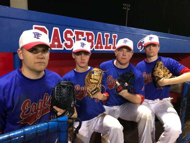 Pine Forest senior pitchers (L to R) Timmy Williams, Jared Riddell, Jason Roberts and TK Roby are as skilled and experienced as any pitching staff around.