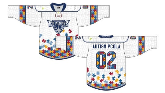 An example of the specially-designed autism awareness uniforms the Pensacola Ice Flyers will wear for an upcoming home series at the Pensacola Bay Center in 2020.