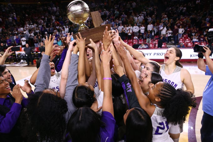Valley Vista High celebrates after defeating Hamilton High to win the 6A girls basketball championship on Mar. 3, 2020 in Tempe, Ariz.