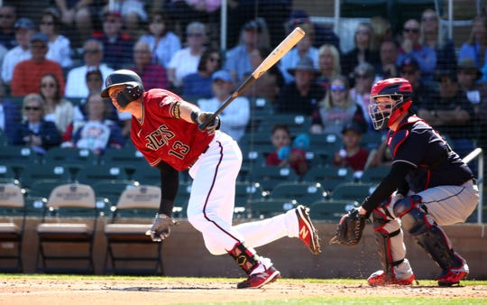 Arizona Diamondbacks Nick Ahmed grounds out to third base against the Cleveland Indians in the second inning during a Cactus League game on Mar. 4, 2020 at Salt River Fields at Talking Stick in Scottsdale, Ariz.