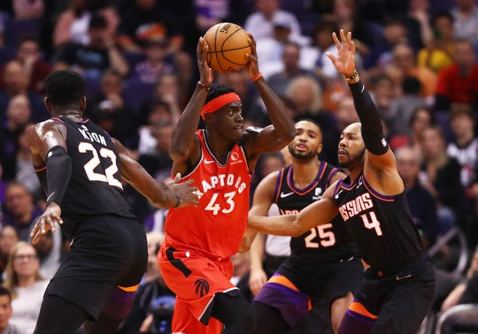 Mar 3, 2020; Phoenix, Arizona, USA; Toronto Raptors forward Pascal Siakam (43) drives to the basket against the Phoenix Suns in the first half at Talking Stick Resort Arena. Mandatory Credit: Mark J. Rebilas-USA TODAY Sports