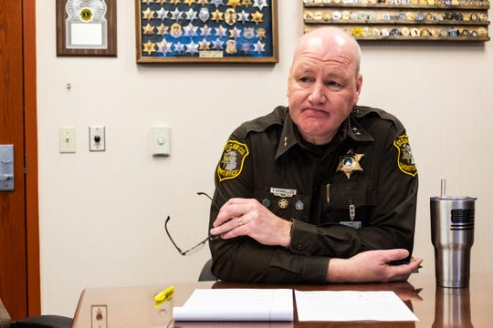 St. Clair County Sheriff Tim Donnellon talks during a meeting at the St. Clair County Sheriff's office Wednesday, March 4, 2020.