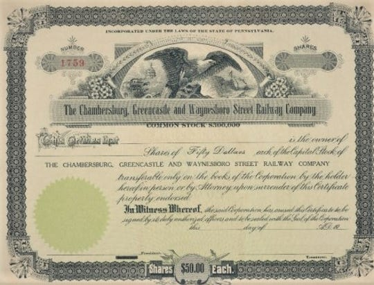 A stock certificate from the early 1900's for the Chambersburg, Greencastle, & Waynesboro Electric Street Railway