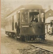 A new combination car built by the Brill Company for the Chambersburg, Greencastle, & Waynesboro Electric Street Railway in 1908. This trolley is leaving the Union Station at Shady Grove with its final destination being Chambersburg.