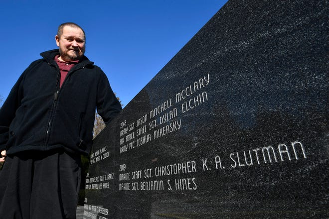 Gold star father Fletcher Slutman Jr. is hoping his son, Staff Sgt. Christopher K.A. Slutman,  is one of the last names to be engraved in the Veteran's Memorial Gold Star Healing and Peace Garden granite Wall of Honor, with a new peace deal with the Taliban. Staff Sgt. Slutman was killed by a suicide bomber in Afghanistan in 2019,