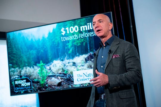 Amazon Founder and CEO Jeff Bezos speaks to the media about the company's sustainability efforts, on September 19, 2019, in Washington, D.C. (Eric Baradat/AFP/Getty Images/TNS)
